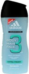 Adidas sprchový gel 3v1 Extra Fresh 250 ml