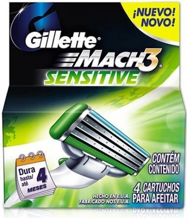 Gillette Mach3 Sensitive náhradní břity 4ks