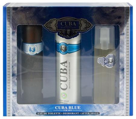 Cuba sada Originál Blue EDT 100 ml+deospray 200 ml+voda po holení 100 ml