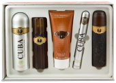 Cuba sada Originál Gold EDT 100ml+deospray 200ml+as.100ml+EDT 35ml+sprchový gel 200ml