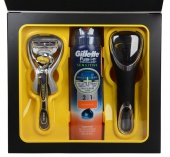 Gillette sada Fusion Proshield strojek 1 břit + gel na holeni Fusion Sensitive 170 ml+taška